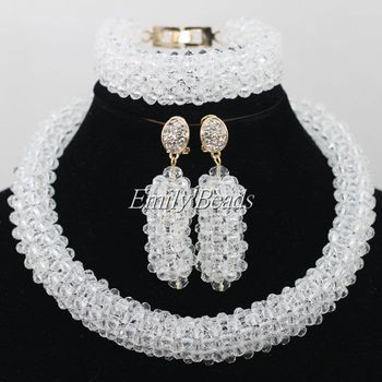 African Nigerian Traditional Beads Jewelry Set Clear White Wedding Women Costume Crystal Beads Necklace Set Free Shipping AIJ377