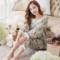 Spring and autumn ladies knitted cotton long - sleeved Cuihua leisure home service pajamas women