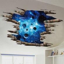 3d cosmic space galaxy children wall stickers for kids rooms nursery baby bedroom home decoration decals fooor murals