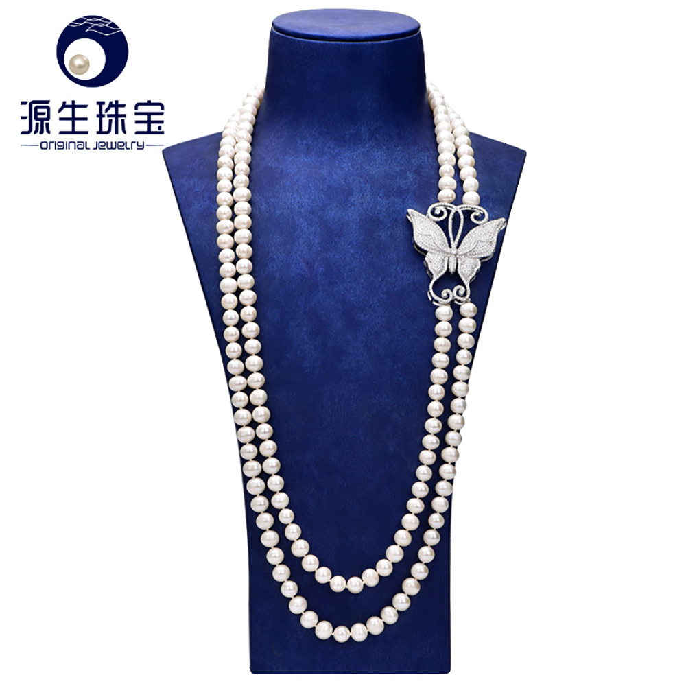 YS 8-9mm Natural Genuine Freshwater Pearl Necklace 60cm Long Sweater Chain Necklace Fine Jewelry [daimi] grey color pearl necklace 160cm long sweater chain natural pearl long necklace 8 9mm rice pearl beach style 2017 new
