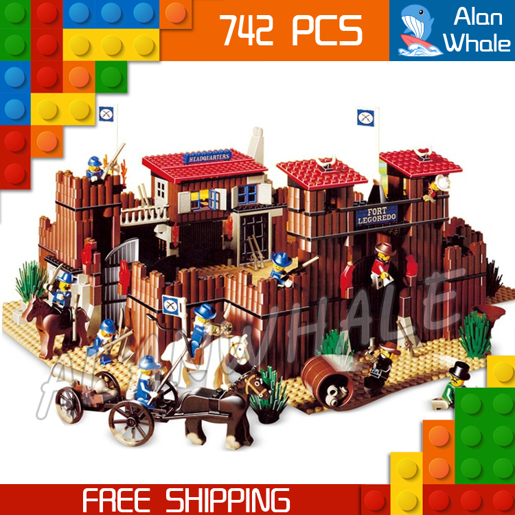 742pcs Western Wild West Fort Legoredo Sysiem Cowboys 33001 Figure Building Blocks Children Toys  Set Compatible With LegoING-in Blocks from Toys & Hobbies