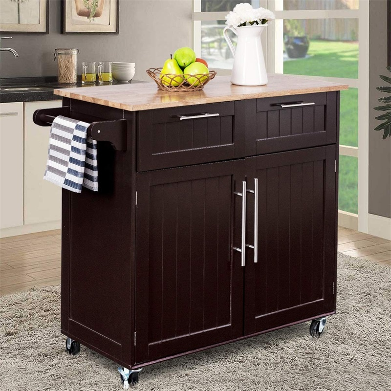 COSTWAY Heavy Duty Utility Modern Rolling Wood Kitchen Cabinet Cart Furniture HW55461