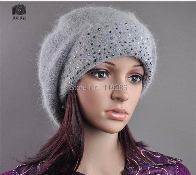 Free Shipping Warm Winter Hat Women's Rabbit Fur beanie Woolen Hats Jewelry Beanie Caps