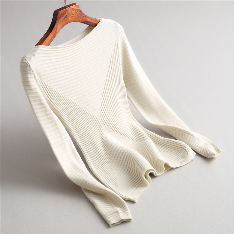 INNASOFAN Sweater For Women Autumn-winter Knitted Sweater Euro-American Fashion Elegant Sweater Solid Color With Long Sleeves