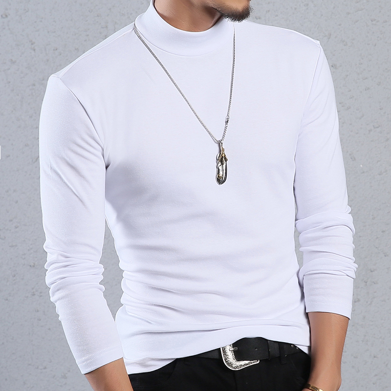 Image 4 - ARCSINX Half Turtleneck Men T Shirt Casual Long Sleeve T Shirt Men Plus Size 6XL 5XL 4XL 3XL Fashion Fitness Tight Tee Shirt Men-in T-Shirts from Men's Clothing