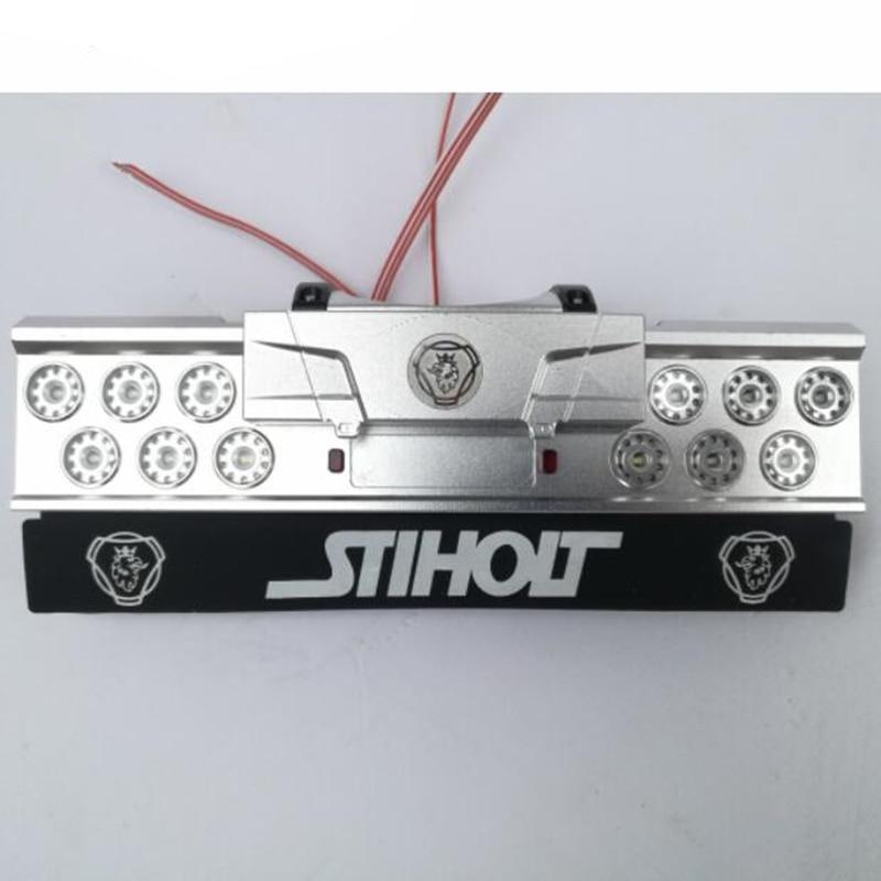 Rc carro de metal montagem conjunto do farolim traseiro com logotipo fender para tamiya 1/14 escala R620 56323 R470 R730 reboque do trator brinquedos caminhão