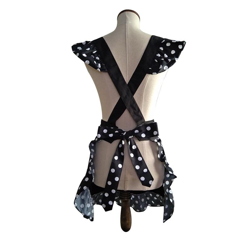 Küchenschürze Frau kocht schwarzer Baumwolle Lolita Cross Back - Haushaltswaren - Foto 2