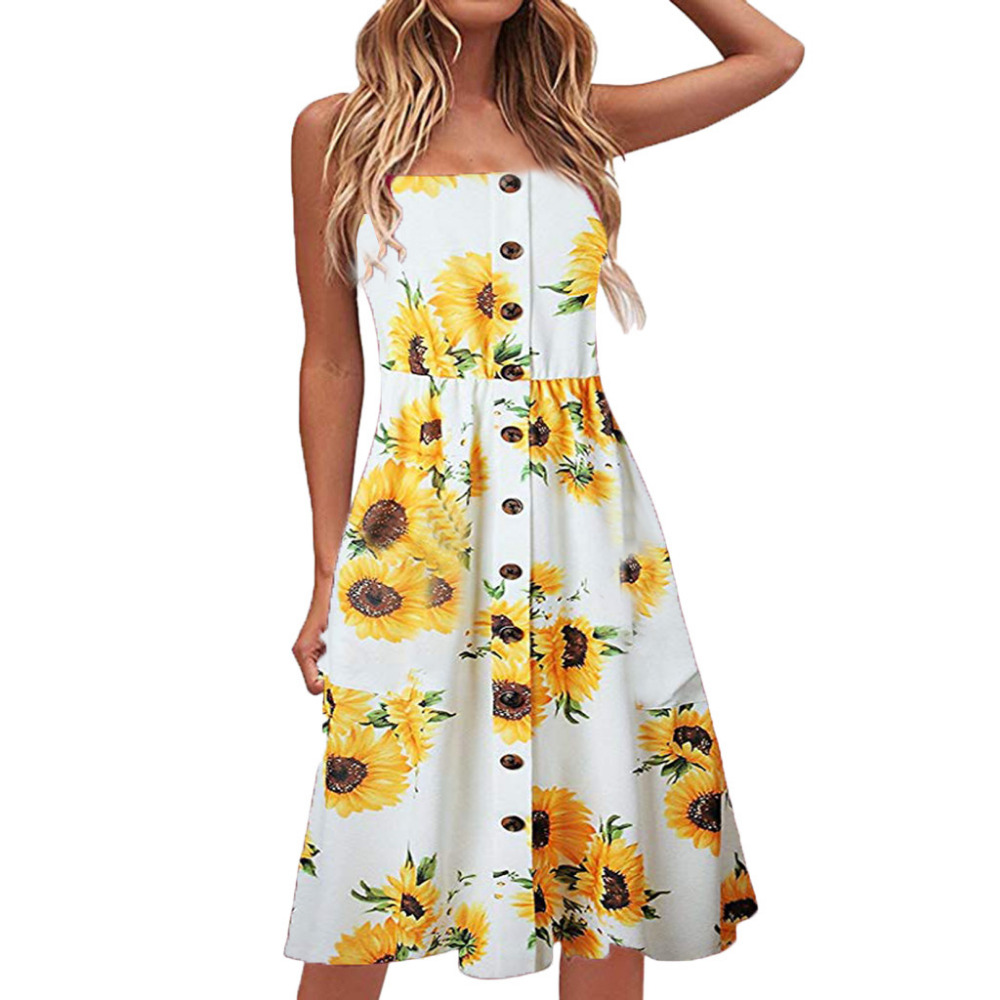 Summer Women's Floral Print Button Sling Dress Tube Top Hem Loose Dress Beach Fashion Casual Dresses 2019 Vestidos X8