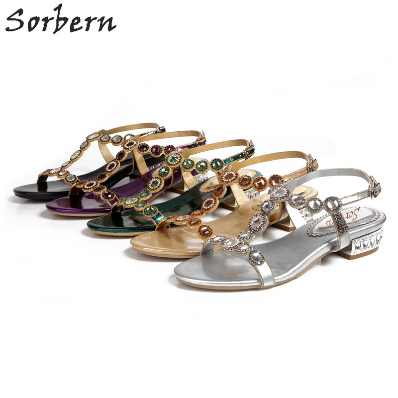 Sorbern Crystal Women Sandals Bridal Wedding Shoes T Strap Fashion 2018 Party Shoes Cheap Modest Buckle Strap Sexy Ladies Shoes sorbern plus size women flat sandals shoes buckle strap cheap modest fashion ladies party shoes for summer pu shoes 2018 new