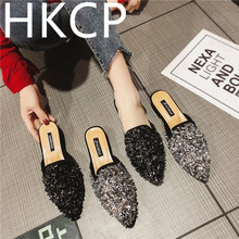 HKCP Fashion The ins spring 2019 womens shoes are the same as pointy shallow diamond-bow beanshoe C038