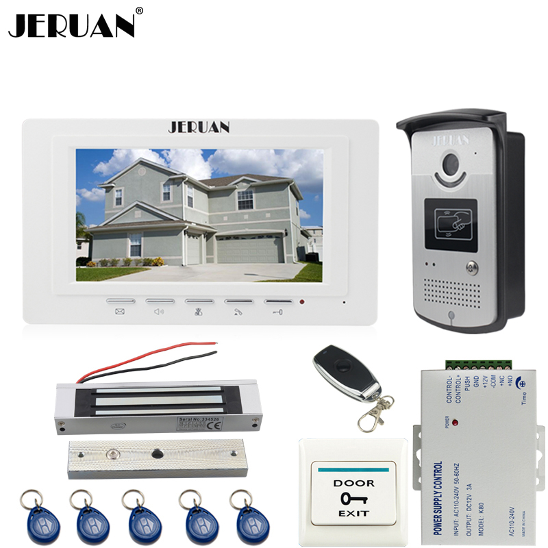 JERUAN new 7`` LCD  Video Door Phone System 700TVT Camera access Control System+Magnetic lock+Remote control Unlock jeruan black 8 lcd video door phone system 700tvt camera access control system cathode lock remote control 8gb card