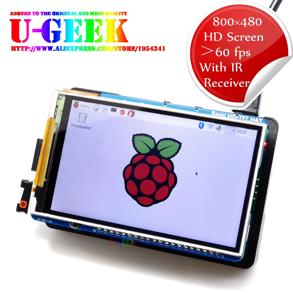 UGEEK Raspberry Pi 3.5 inch 800*480 60fps TFT Screen|HD HighSpeed LCD Module|3.5 Display For Pi 3B 2B B+ Zero|Support IR|Kali
