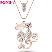 Bonsny Cat Necklace Opal Pendant Animal Cat Eye Brand Crystal Chain New 2017 Zinc Alloy Girl Women Fashion Jewelry Accessories(China)