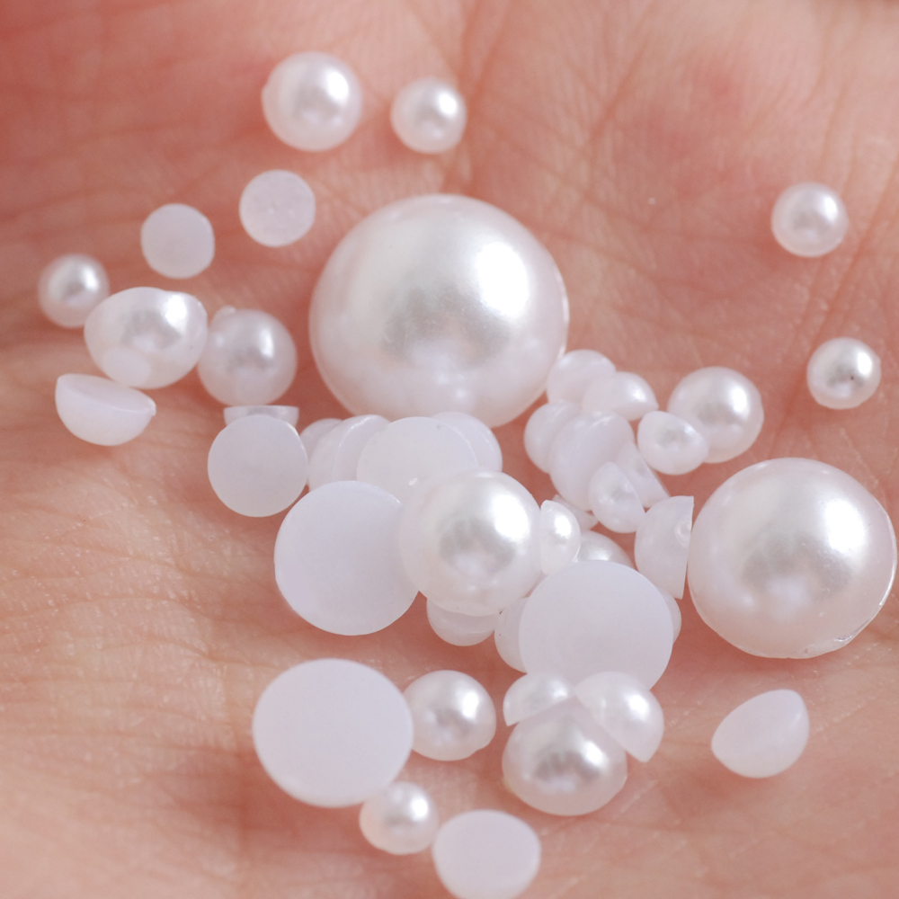 Wholesale 50PCS 2-24mm Half Round Flatback Pearl Bead Nail Art Phone Style