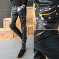 Cool Mens leather pants with zipper Rivet Slim fit Punk rock style
