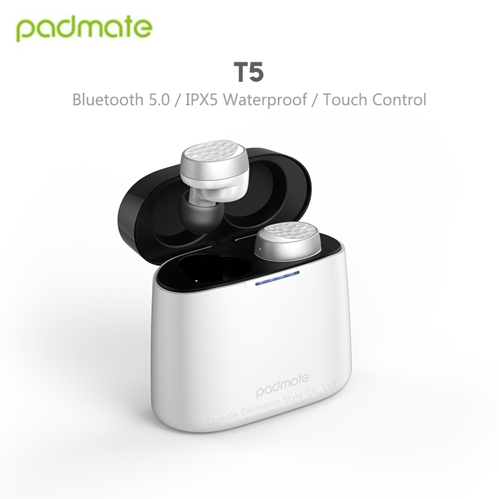 Original Padmate <font><b>T5</b></font> <font><b>TWS</b></font> Bluetooth Earphones Wireless Earbuds Waterproof IPX6 with Mic Microphone Touch Control image