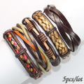 FL53-free shipping (5pcs/lot) new arrival product 2017 fashion ethnic leather bracelet  handmade braid genuine charms for gift