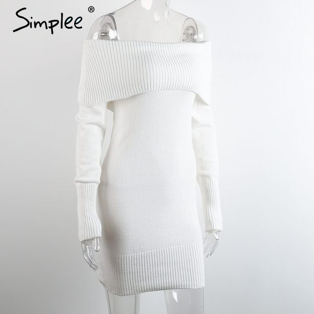 Simplee Winter off shoulder knitted bodycon dress Women long sleeve autumn sexy dress 2016 party short white dresses vestidos
