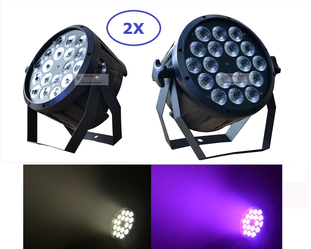 2xlot The Brightest 4/8 Dmx Channels Led Flat Par 18x12w Rgbw 4in1 Slim Led Par Can Light Plastic Case Stage Dj Disco Strobe Sophisticated Technologies Stage Lighting Effect