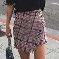 Simplee Сексуальная асимметричный плед юбки женщины Элегантный кистями высокой талией юбка Прохладный уличной шерстяной короткая юбка 2017