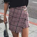 Simplee Sexy asymmetrical plaid skirts women Elegant tassels high waist skirt Cool streetwear woolen short skirt 2017