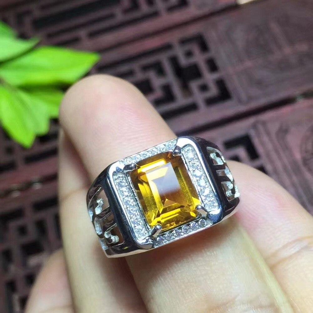 Citrino naturale anello degli uomini, bel colore, atmosfera, mestiere cava, 925 argento-in Anelli da Gioielli e accessori su  Gruppo 3