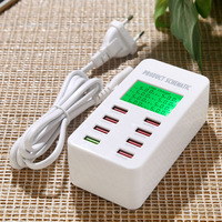 FC 8 8 Ports Fast Smart Charger QC3.0 Adapter USB Charger Desktop Chargers Mobile Phone Travel Charger QC2.0 Charging