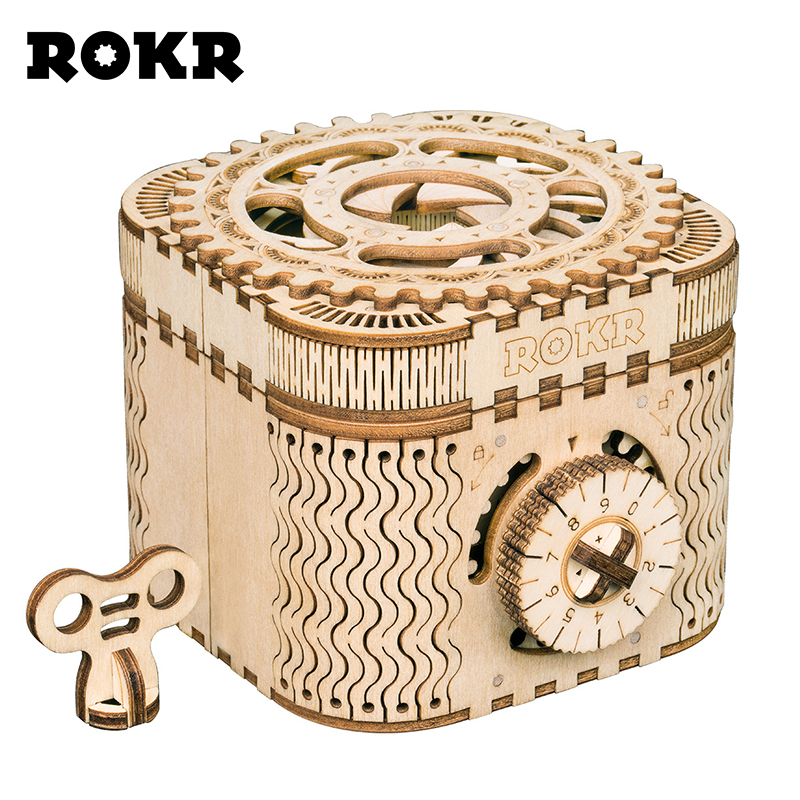 ROKR DIY 3D Puzzle De Madeira Caixa do Tesouro Caixa de Armazenamento de Senha LK502 Assembléia Kit Modelo de Construção Brinquedos para As Crianças o Transporte Da Gota