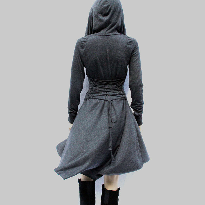 ShowMi Women Cloak Dress Long Sleeve Back Bandage Deep V neck Front Short Back Long A Line Big Wing Short Medieval Hooded Dress