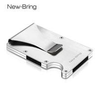 NewBring Slim Metal Credit Card Holder With RFID Anti Chief Travel Mini Wallet Man