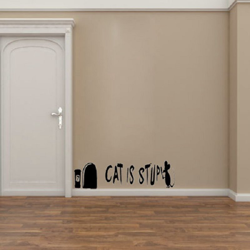 Cat Is Stupid Mouse Funny Cartoon Wall Decal Removable Stickers Home Decor Vinyl