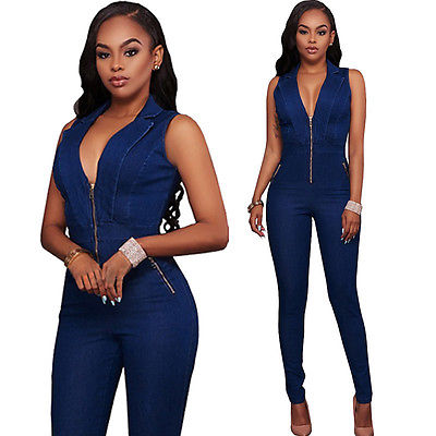 6358886a6e3 Womens Jeans Jumpsuits Denim Long Pants Sexy Deep V Neck Slim Overalls  Jumpsuit Girl Sleeveless Club Wear Bodysuit Romper Zipper-in Jumpsuits from  Women s ...