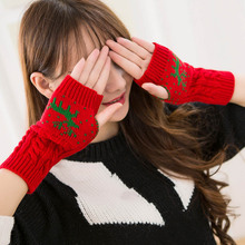 Gloves Fashion Knitted Arm Half Finger Mittens Fingerless Elk Glove for Women Girls Winter Keep Warm Wrist Xmas Gifts