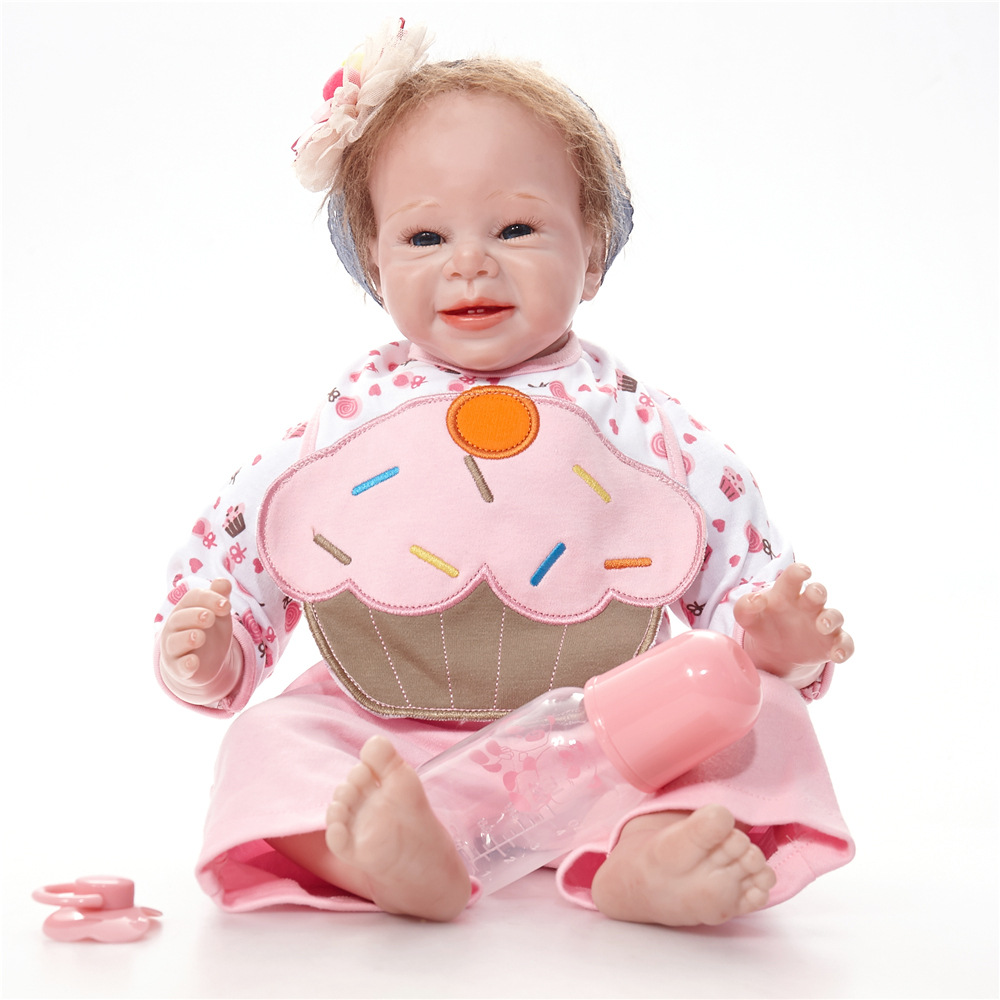 22 inches Smile Newborn Baby Doll Realistic Reborn Princess Girl Doll with Cloth Body for Kids Toy Birthday Christmas Gift [mmmaww] christmas costume clothes for 18 45cm american girl doll santa sets with hat for alexander doll baby girl gift toy