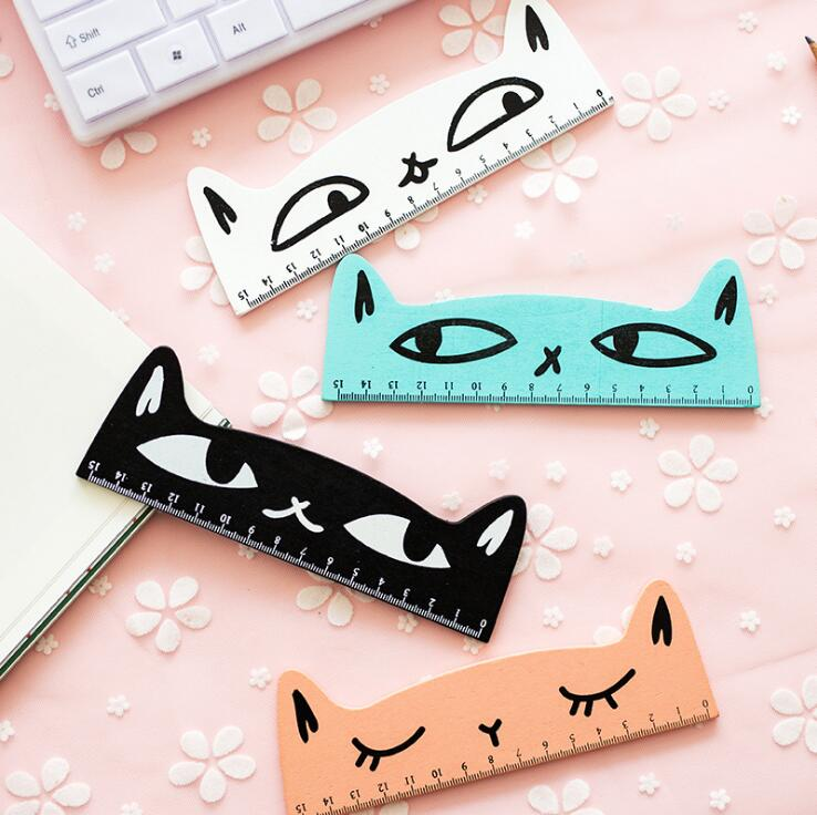 1 Pc 15cm Fresh Candy Color Cute Cat Wooden Ruler Measuring Straight Ruler Tool Promotional Gift Stationery