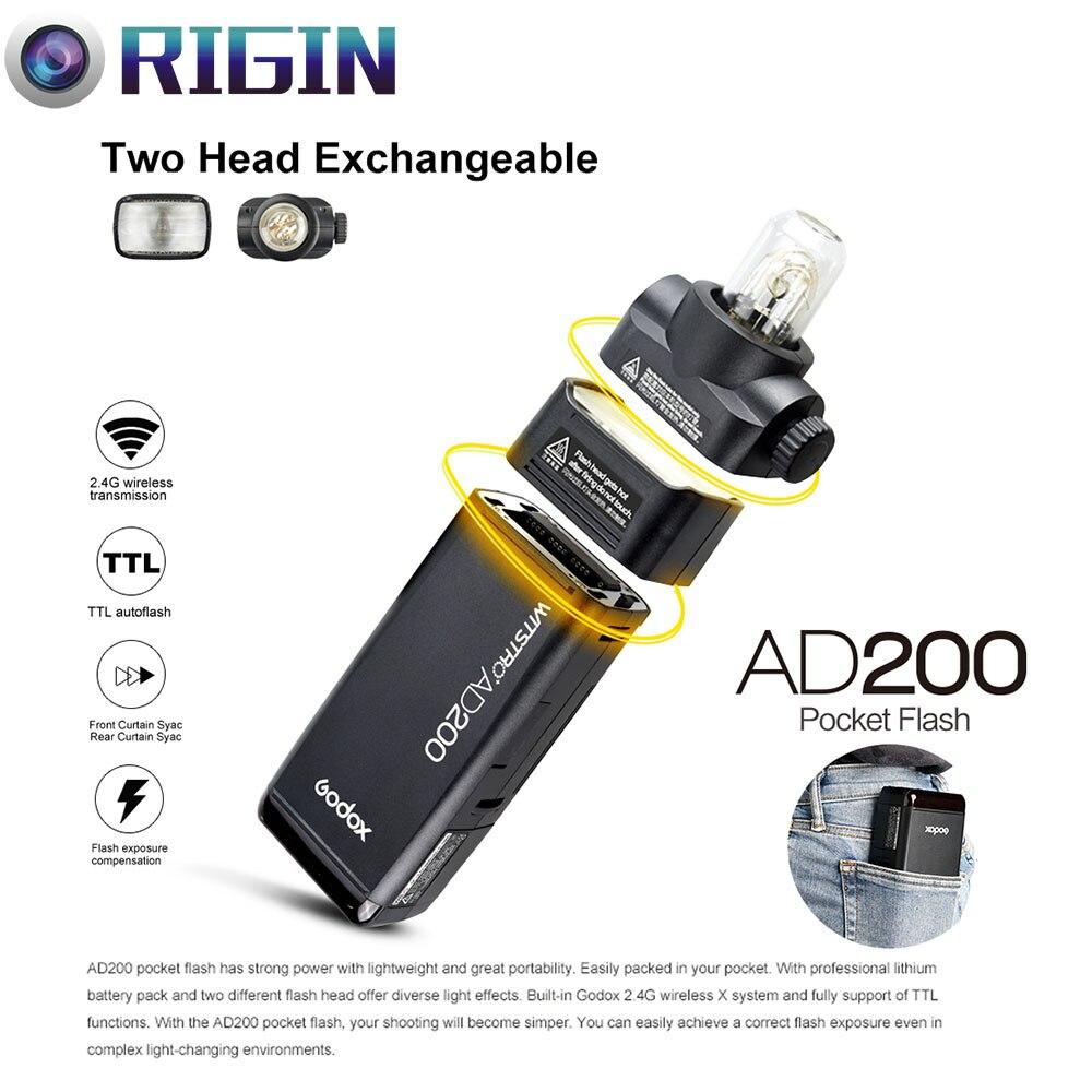 Nouvelle Arrivée Godox Poche Flash AD200 TTL 2.4g Sans Fil X système HSS 1/8000 s Double tête avec 2900 mah batterie Au Lithium Flash