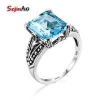 Szjinao Youth Real 925 Sterling Silver Ocean Blue Crystal Finger Rings For Women Punk Style Fashion
