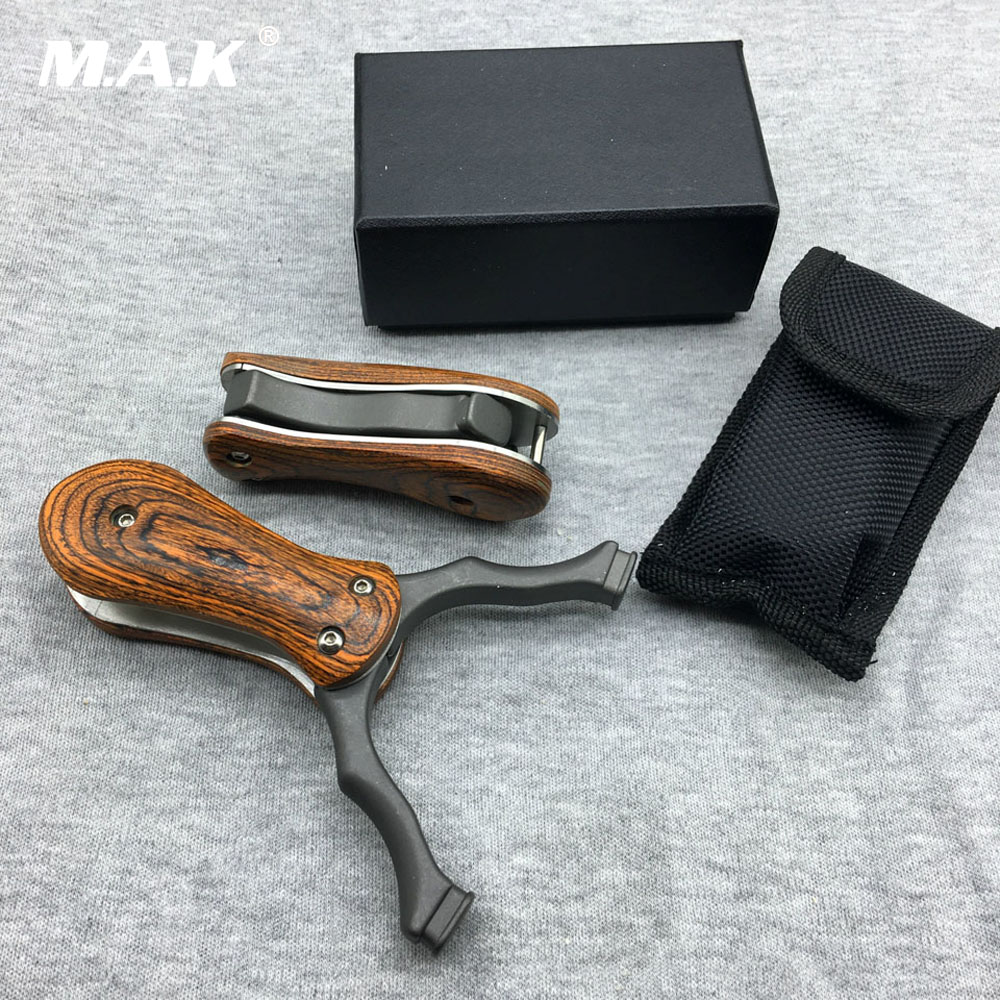 Powerful Folding Slingshot Stainless Steel with Wood Handle Accurate Shooting for Outdoor Archery Hunting fish slingshot with the fishing wheel and laser flashlight stainless steel aluminium alloy archery shooting hunting equipment