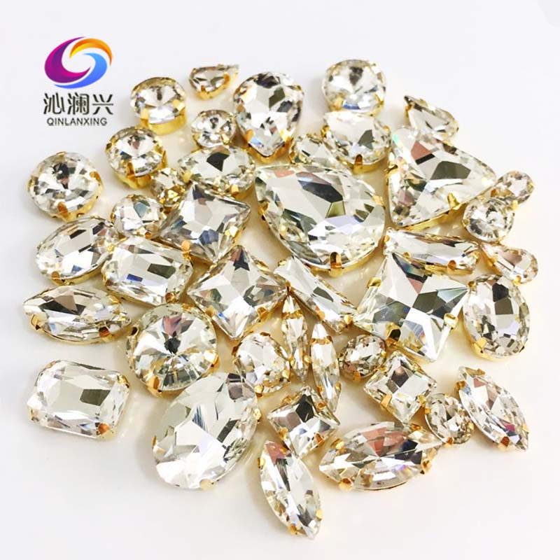 Factory Sales Gold Bottom White 3D Top Crystal Glass Sew On Stones,mix Size Claw Rhinestone Diy/jewelry Accessories 58pcs/pack