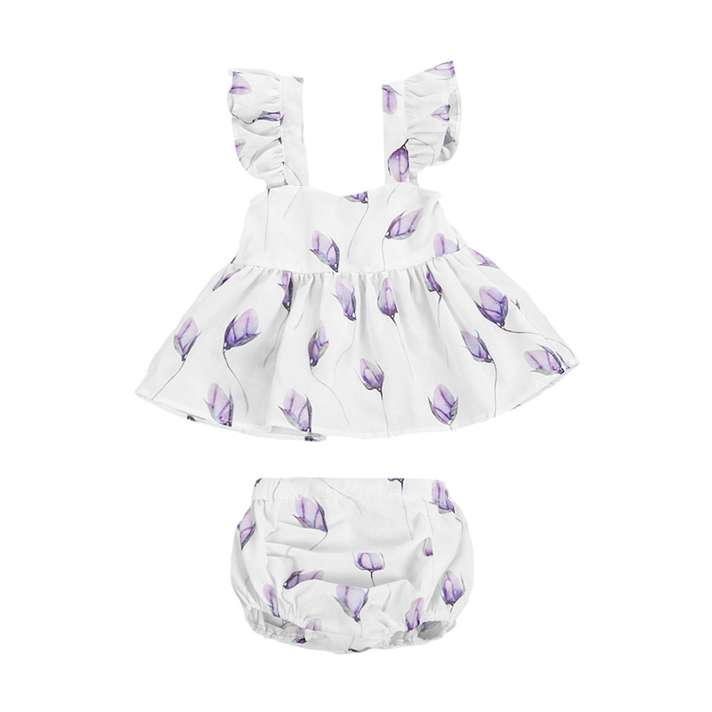 Newborn Kid Baby Girl Clothes Set Sleeveless Summer Flower Backless Tops Shorts Princess Party Girls Clothing Cotton 2PCs 2pcs ruffles newborn baby clothes 2017 summer princess girls floral dress tops baby bloomers shorts bottom outfits sunsuit 0 24m