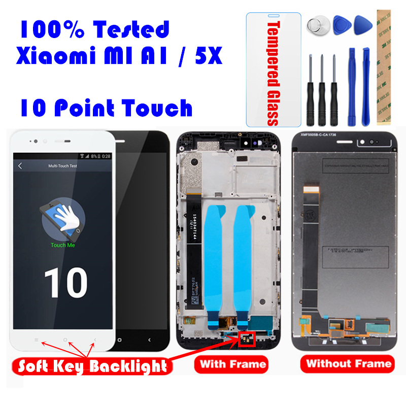 CAPASAE For Xiaomi Mi A1 5X With Frame Screen 10 Touch Panel MiA1 LCD Display