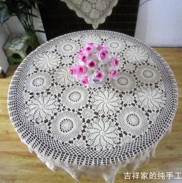 Envío libre blanco 180 cm redonda decoración de flores ganchillo ...
