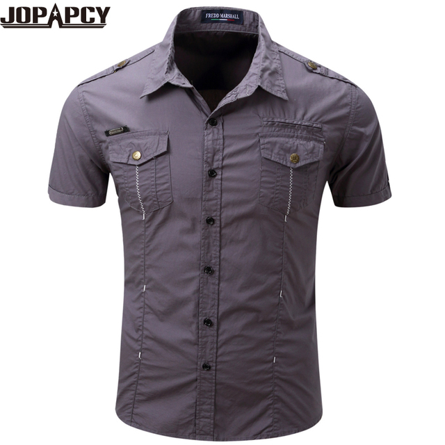 d92395bd64 Short Sleeve Men Shirt Turn-down Collar Single Breasted Fashion Casual Male  Blouse High Quality