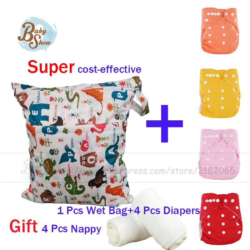 2016 Hot Sale Newborn Set 0-3 Years Unisex Baby Care Set Kit 1 Pcs 30*40Cm Wet Bag+4Pcs Diapers Give 4Pcs Nappy 9 Pcs Gift Set 2015 hot sale limited 1 2 years tea gift packing qs health tea sweet gift set 40