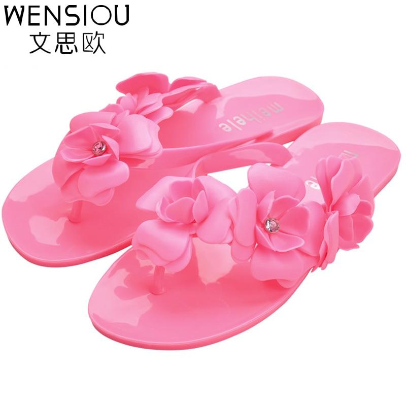 Summer Style women flip flop sandals fashion candy color flower flat shoes women hot sale ladies beach casual sandals DT125 summer style children sandals girls princess flower shoes kids flat sandals tide sneakers