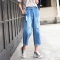 Высокие джинсы талии женщины широкого покроя штаны винтаж разорвал брюки женщин щиколотки брюки pantalones вакерос джинсы роковой