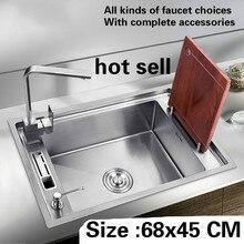 Бесплатная доставка Большая кухонная раковина 304 нержавеющая сталь 1,2 мм ручной работы один слот Лидер продаж 68×45 см