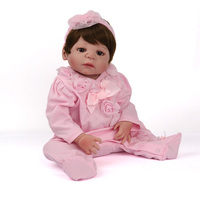 55cm girl body silicone Reborn babies dolls real bebe alive 22lol toys with Pink clothes and pink bottle ethnic Toy Kid gift