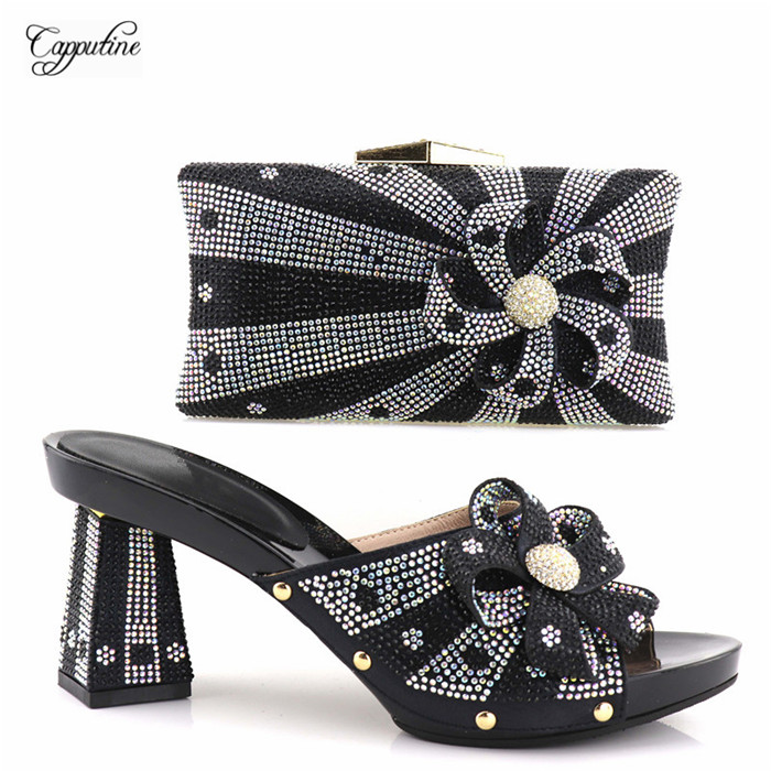 Hot sle green pumps and bag set fashion shoes and purse set with stones YH2018-07, 4 color options