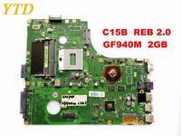 Original for PEGATRON K56L C15B Laptop Motherboard C15B REB 2.0 GF940M 2GB tested good free shipping